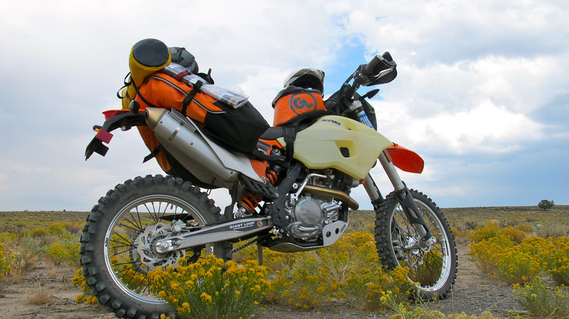 Giant Loop's Harold Olaf Cecil on an Oregon backcountry solo tour with Coyote Saddlebag on KTM 500 EXC.